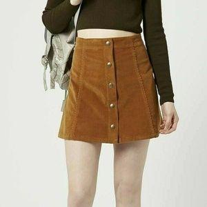 Topshop Corduroy Snap Button Front Mini Skirt